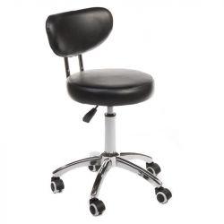 Kosmetická židle BERGAMO na podstavě s kolečky černá