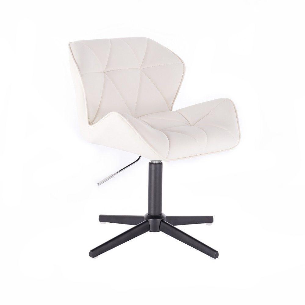 Kosmetická židle MILANO na černém kříži - bílá