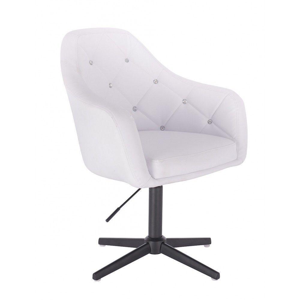 Kosmetická židle ROMA na černém kříži - bílá