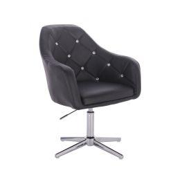 Kosmetická židle ROMA na stříbrném kříži - černá