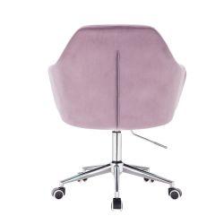 Kosmetické křeslo ANDORA VELUR na stříbrné podstavě s kolečky - fialová