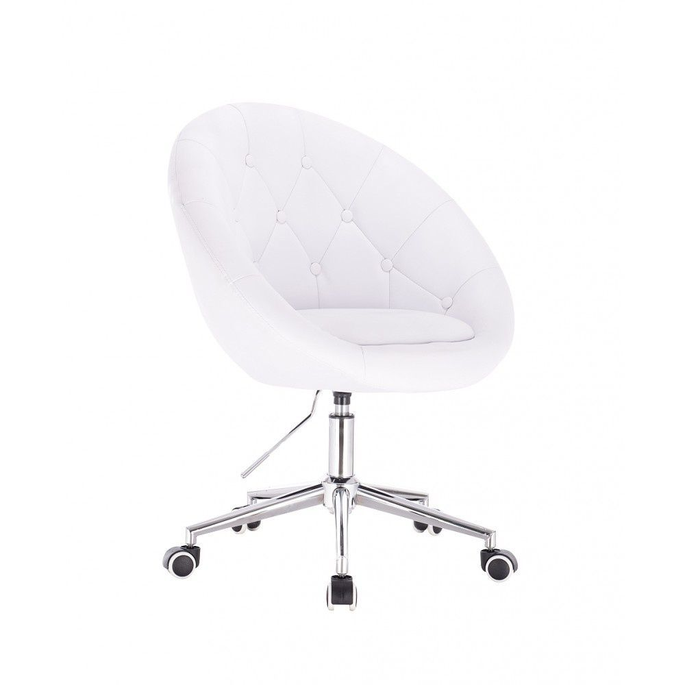 Kosmetické křeslo VERA na stříbrné podstavě s kolečky - bílé