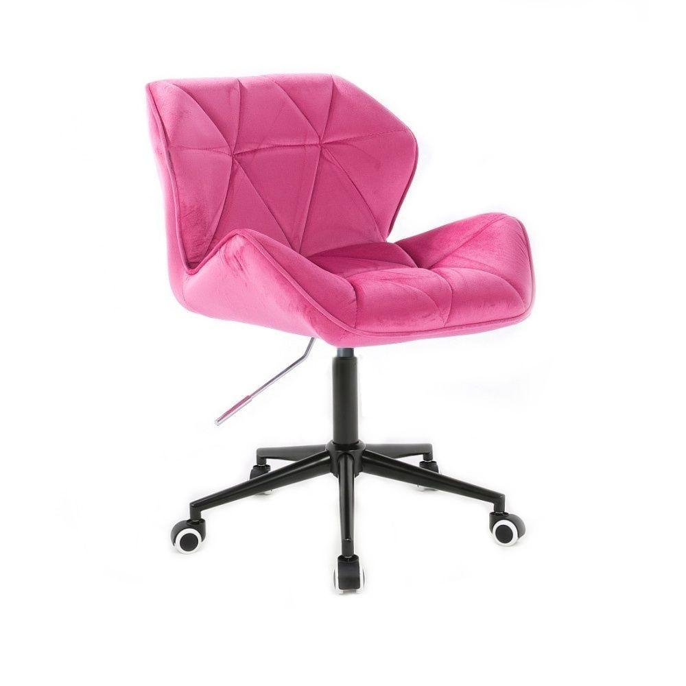 Kosmetická židle MILANO VELUR na černé podstavě s kolečky - růžová