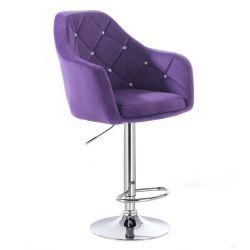 Barová židle ROMA VELUR na kulaté stříbrné podstavě - fialová