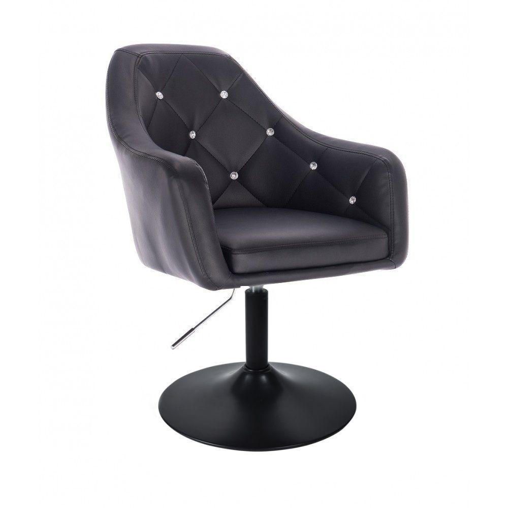 Kosmetická židle ROMA na černé kulaté podstavě - černá