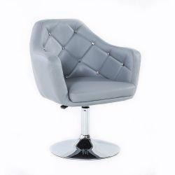 Kosmetická židle ROMA na stříbrné kulaté podstavě - šedá