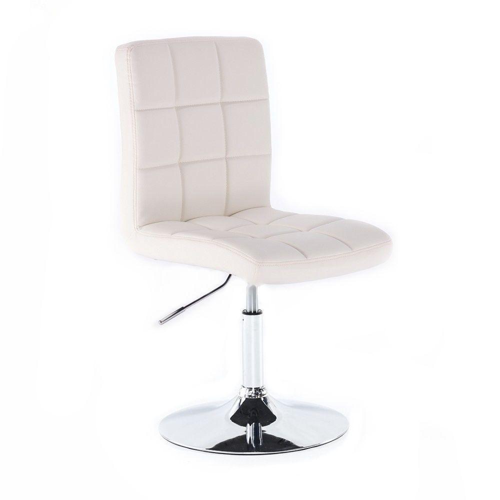 Kosmetická židle TOLEDO na kulaté podstavě bílá