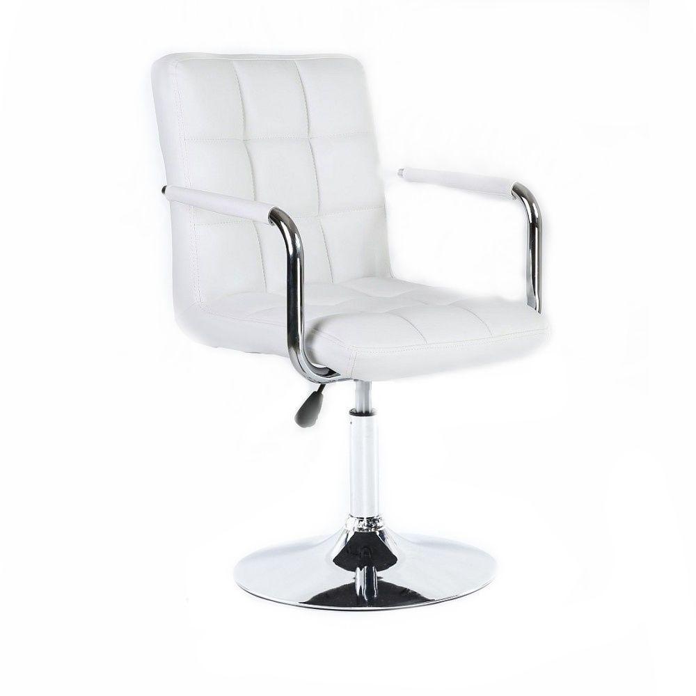 Kosmetická židle VERONA na kulaté podstavě bílá