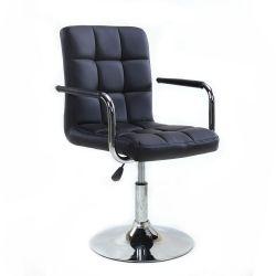 Kosmetická židle VERONA na stříbrné kulaté podstavě - černá