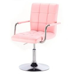 Kosmetická židle VERONA na stříbrné kulaté podstavě - růžová