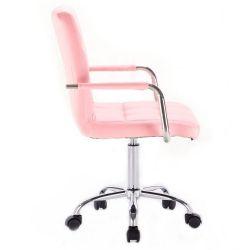 Kosmetická židle VERONA na podstavě s kolečky růžová