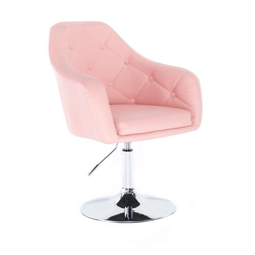 Kosmetické křeslo ANDORA na stříbrném talíři - růžová
