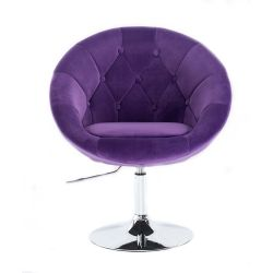 Kosmetické křeslo VERA VELUR na stříbrném talíři - fialová
