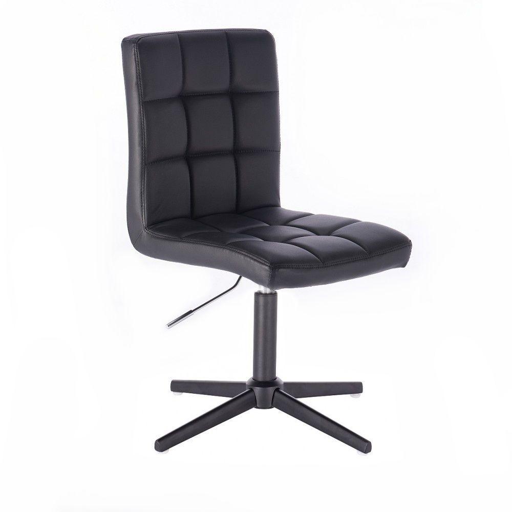 Kosmetická židle TOLEDO na černém kříži - černá