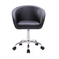 Kosmetická židle VENICE na stříbrné podstavě s kolečky - černá