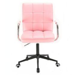 Kosmetická židle VERONA na černé podstavě s kolečky - růžová