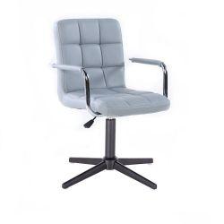 Kosmetická židle VERONA na černém kříži - šedá