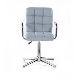Kosmetická židle VERONA na stříbrném kříži - šedá