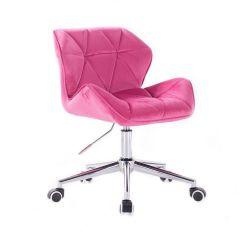 Kosmetická židle MILANO VELUR na stříbrné podstavě s kolečky - růžová
