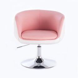 Kosmetická židle MONTANA na stříbrné kulaté podstavě - růžovobílá