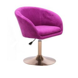 Kosmetická židle VENICE VELUR na zlatém talíři - fuchsie