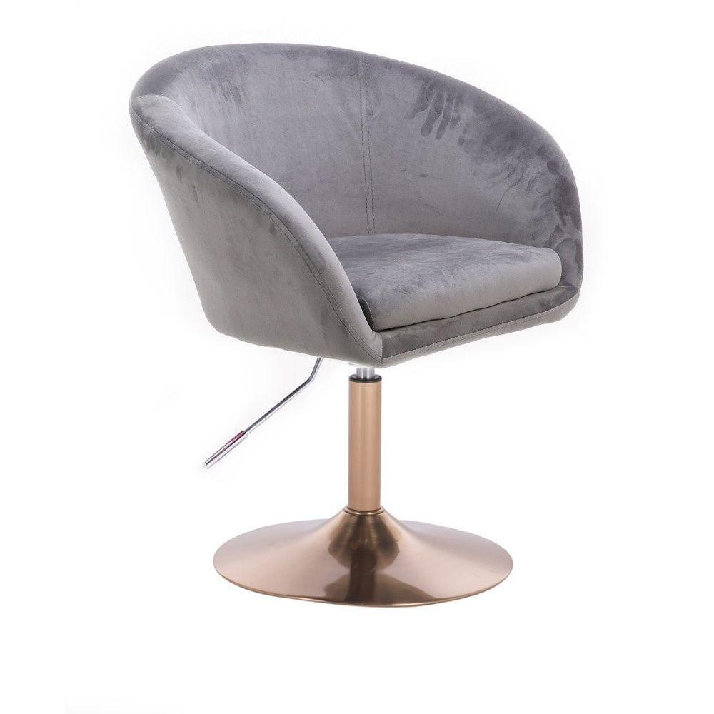 Kosmetická židle VENICE VELUR na zlatém talíři - světle šedá