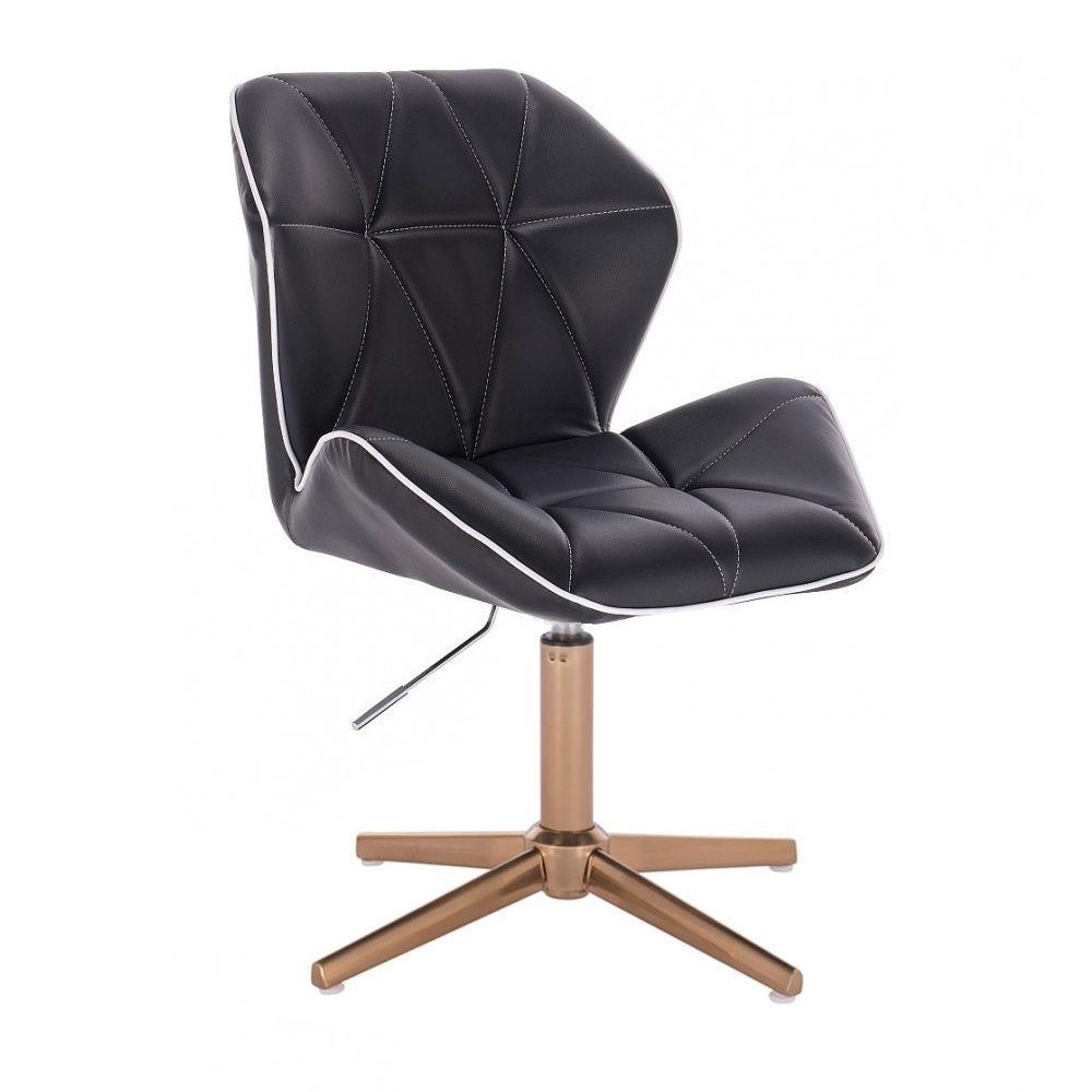 Kosmetická židle MILANO MAX na zlatém kříži - černá