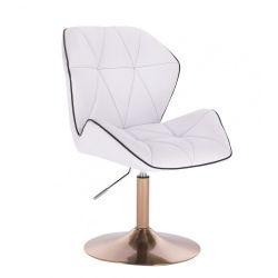 Kosmetická židle MILANO MAX na zlatém talíři - bílá