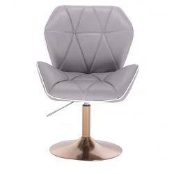 Kosmetická židle MILANO MAX na zlatém talíři - šedá