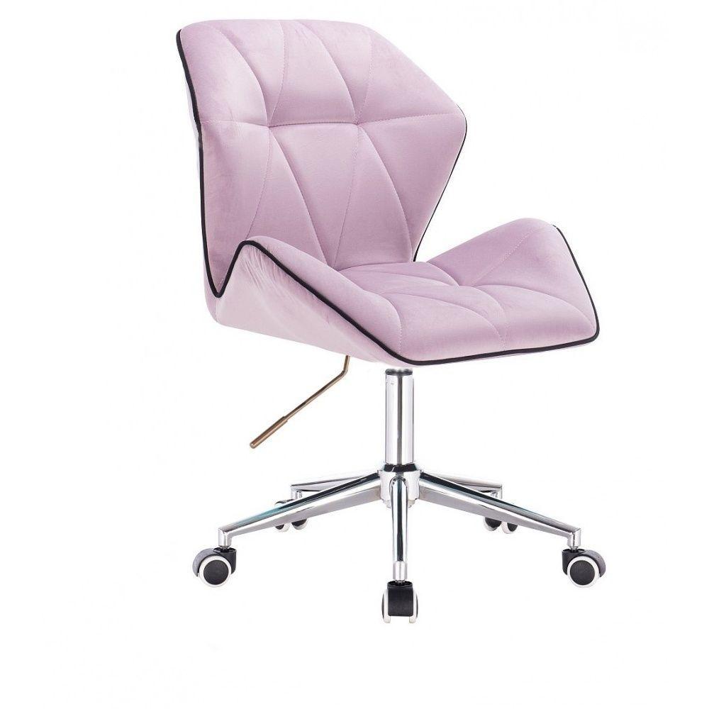 Kosmetická židle MILANO MAX VELUR na stříbrné podstavě s kolečky - fialový vřes