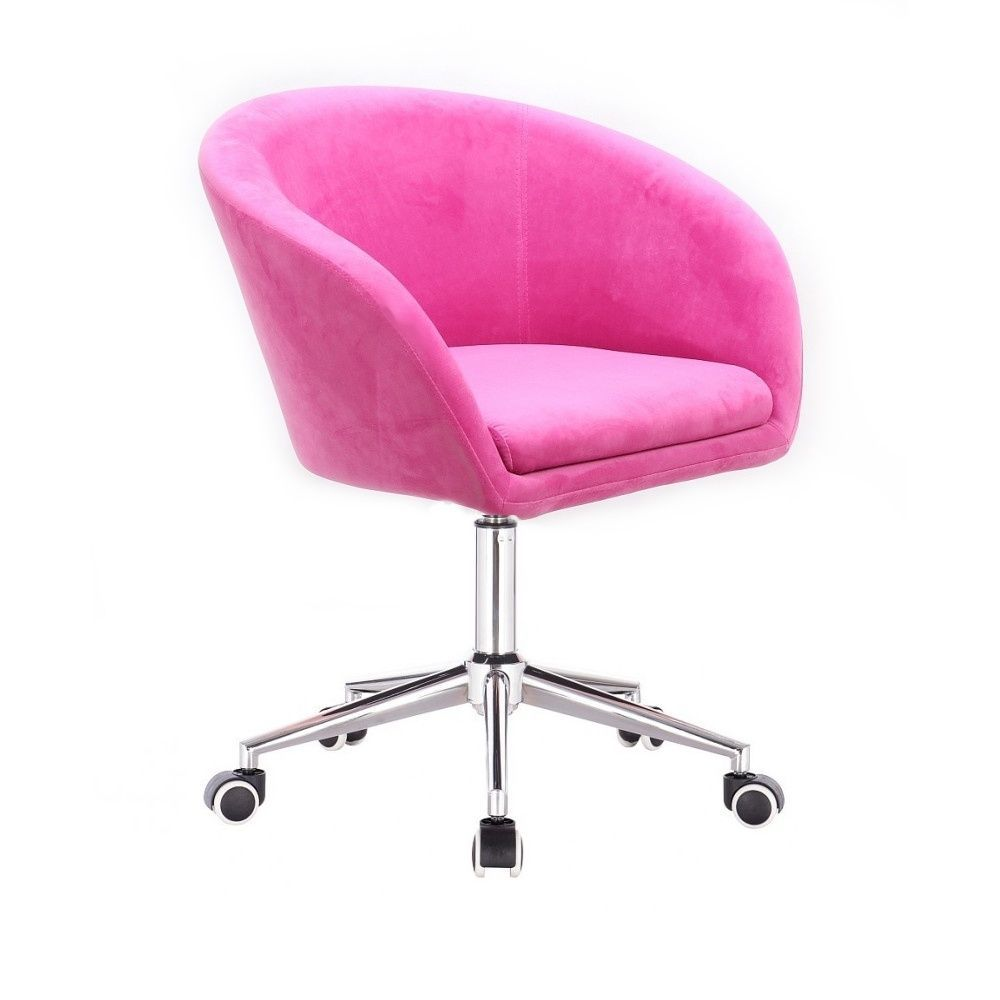 Kosmetická židle VENICE VELUR na stříbrné podstavě s kolečky - růžová