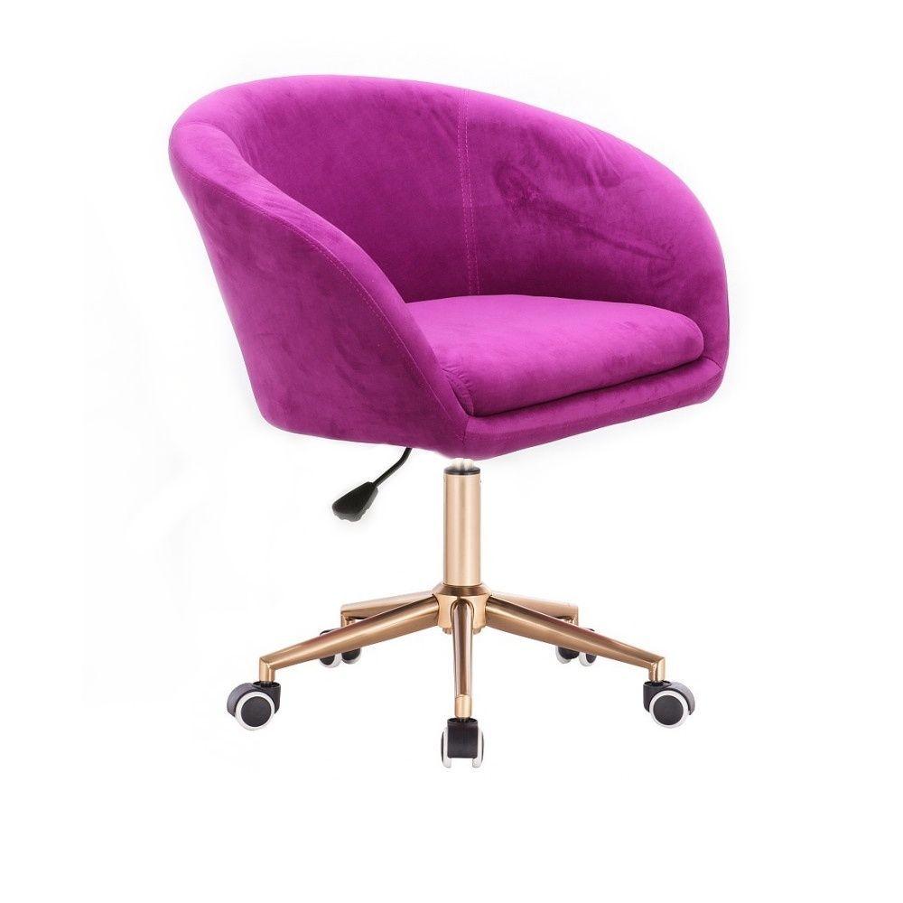 Kosmetická židle VENICE VELUR na zlaté podstavě s kolečky - fuchsie