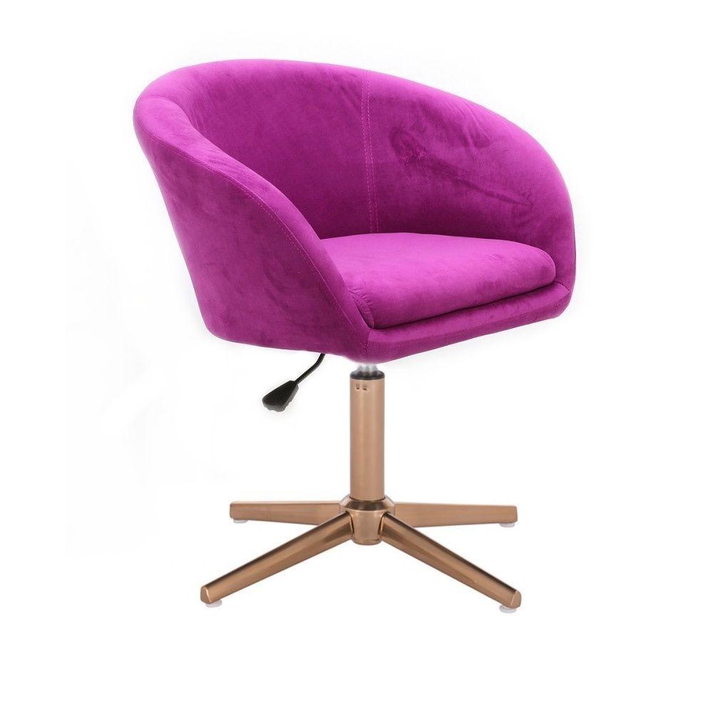 Kosmetická židle VENICE VELUR na zlatém kříži - fuchsie