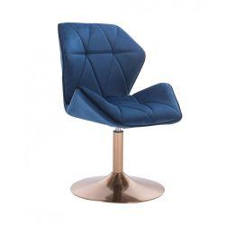 Kosmetická židle MILANO MAX VELUR na zlatém talíři - modrá