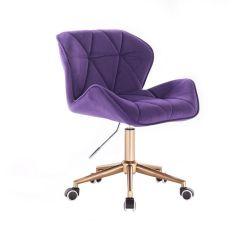 Kosmetická židle MILANO VELUR na zlaté podstavě s kolečky - fialová