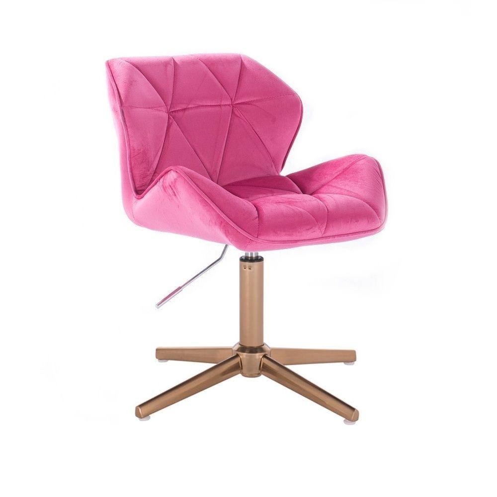 Kosmetická židle MILANO VELUR na zlatém kříži - růžová
