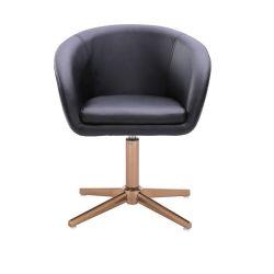 Kosmetická židle VENICE na zlatém kříži  - černá