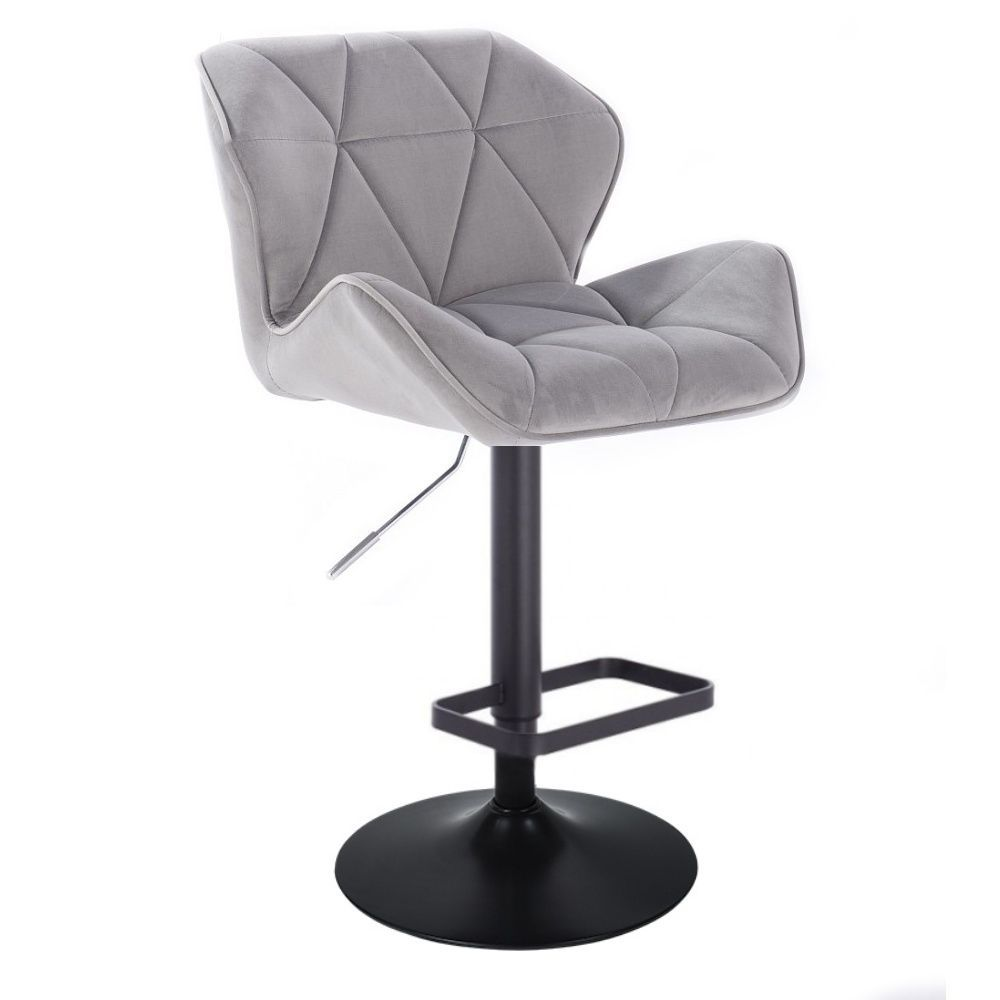 Barová židle MILANO VELUR na černé kulaté podstavě - světle šedá