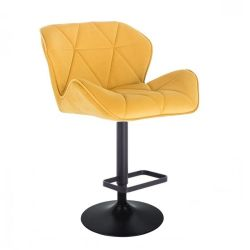 Barová židle MILANO VELUR na černé kulaté podstavě - žlutá