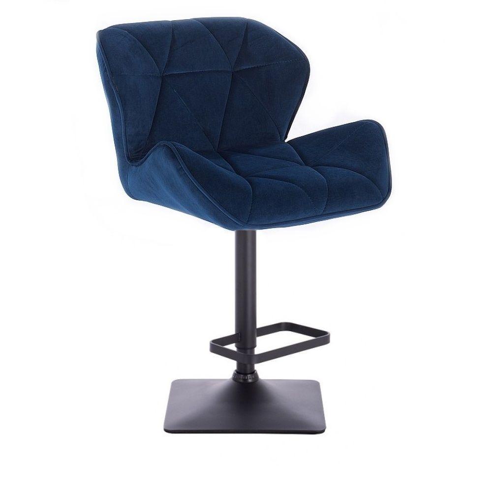 Barová židle MILANO VELUR na černé podstavě - modrá
