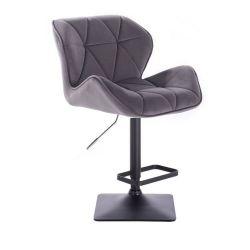 Barová židle MILANO VELUR na černé podstavě - tmavě šedá