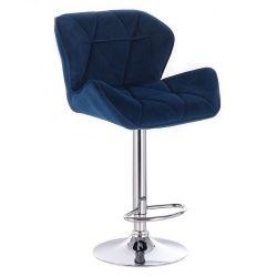 Barová židle MILANO VELUR na stříbrné kulaté podstavě - modrá