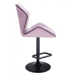 Barová židle MILANO MAX VELUR na černém talíři - fialový vřes