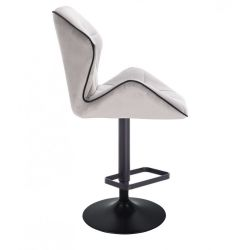 Barová židle MILANO MAX VELUR na černém talíři - šedá
