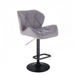 Barová židle MILANO na černém talíři  - šedá