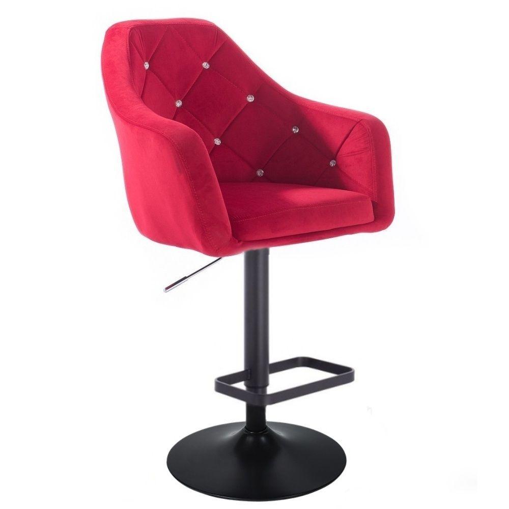 Barová židle ROMA VELUR na černém talíři - červená