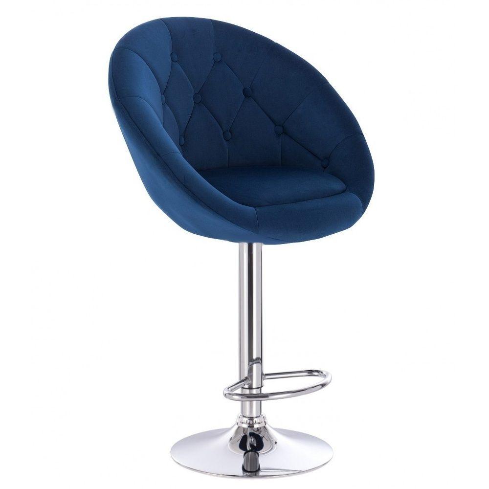 Barová židle VERA VELUR na kulaté stříbrné podstavě - modrá