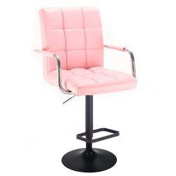 Barová židle VERONA na černém talíři - růžová
