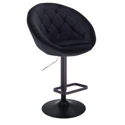 Barová židle VERA VELUR na černém talíři - černá