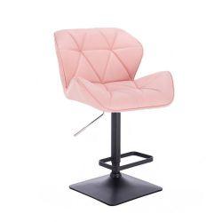 Barová židle MILANO na černé podstavě - růžová